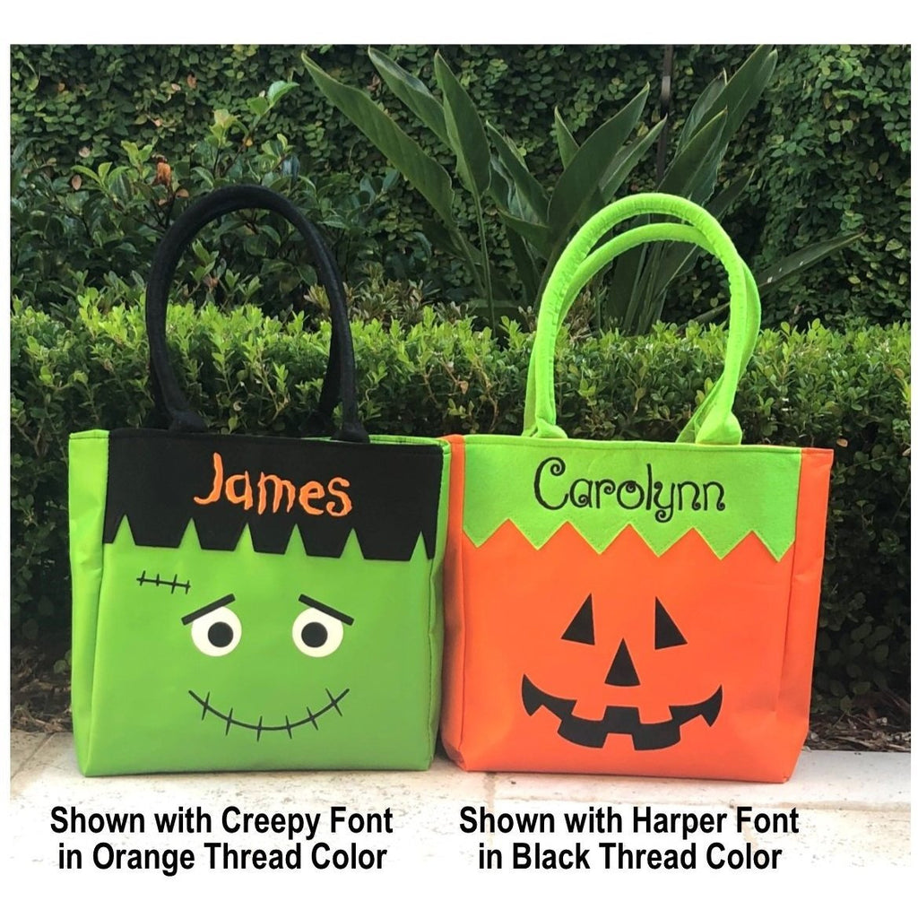 Halloween - Tote Bags, Pumpkin or Frankenstein Face, Trick or Treat, Includes Personal Monogram Name