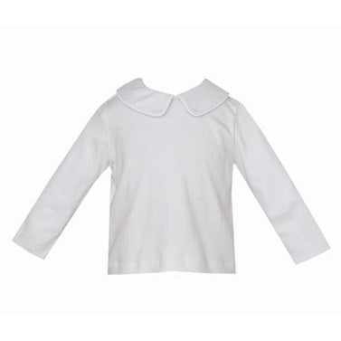 Petit Bebe - Boys Peter Pan Collar White Knit Long Sleeve Shirt