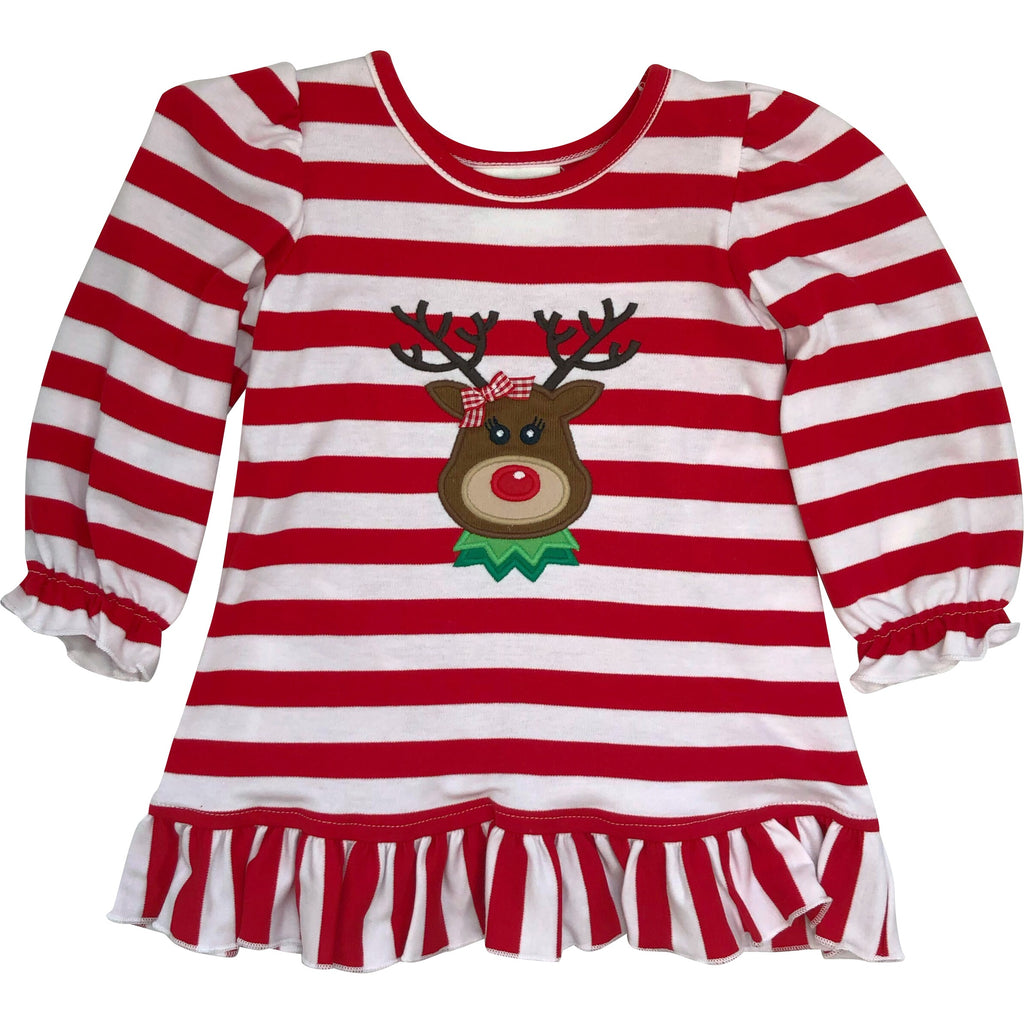Zuccini Girls Christmas Dress Red & White Stripe Applique Reindeer Face  - Monogram Available