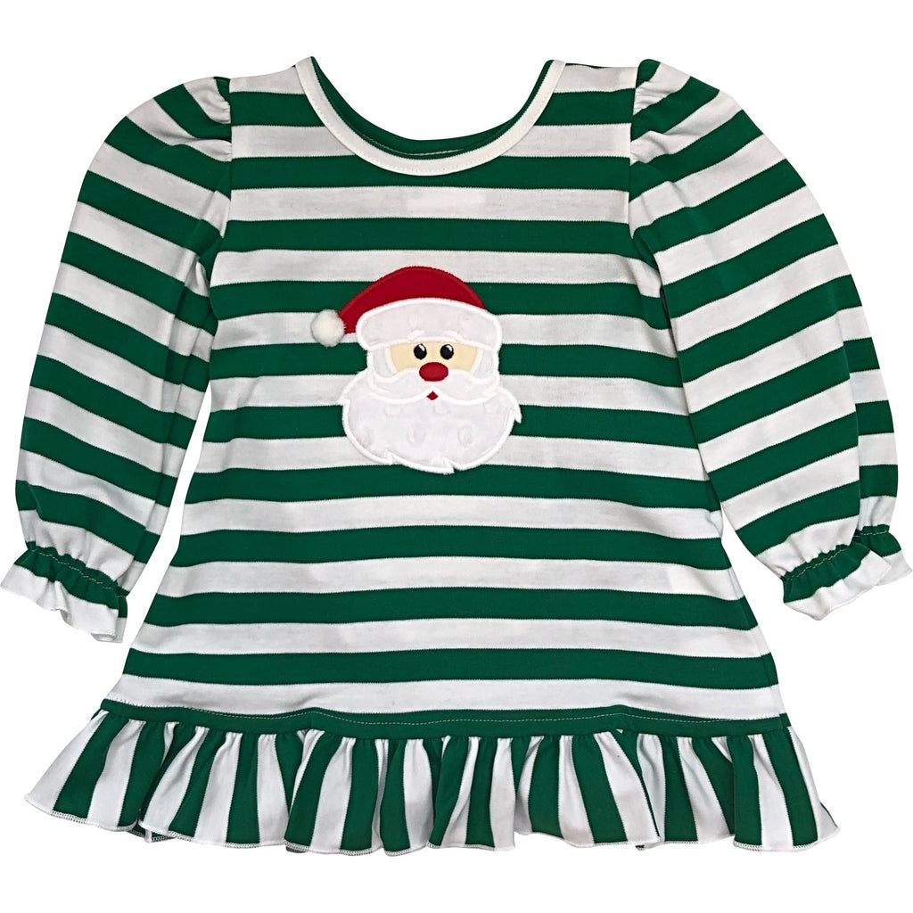 Zuccini Girls Christmas Dress Green & White Stripe Applique Santa Face - Monogram Available
