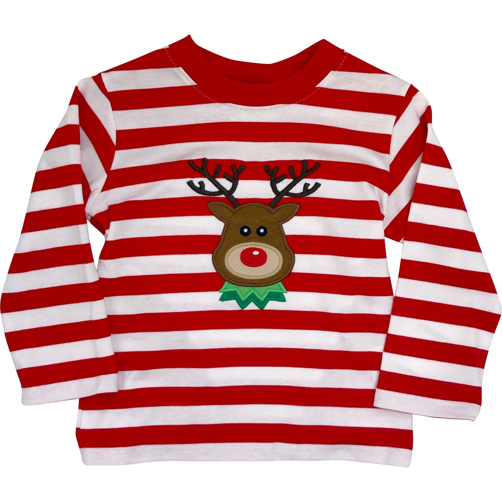 Zuccini Boys Christmas Red & White Stripe Reindeer Applique Shirt - Monogram Available