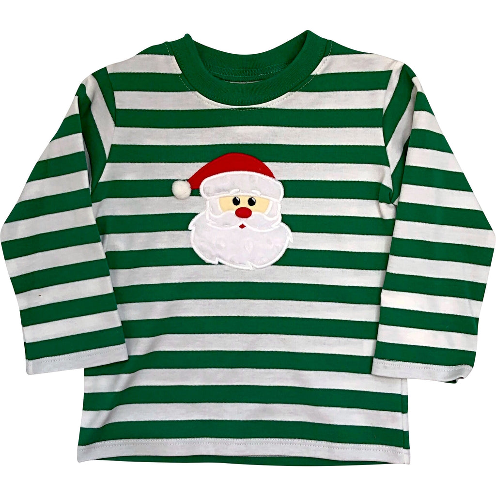 Zuccini Boys Christmas Green & White Stripe Santa Face Applique - Monogram Available