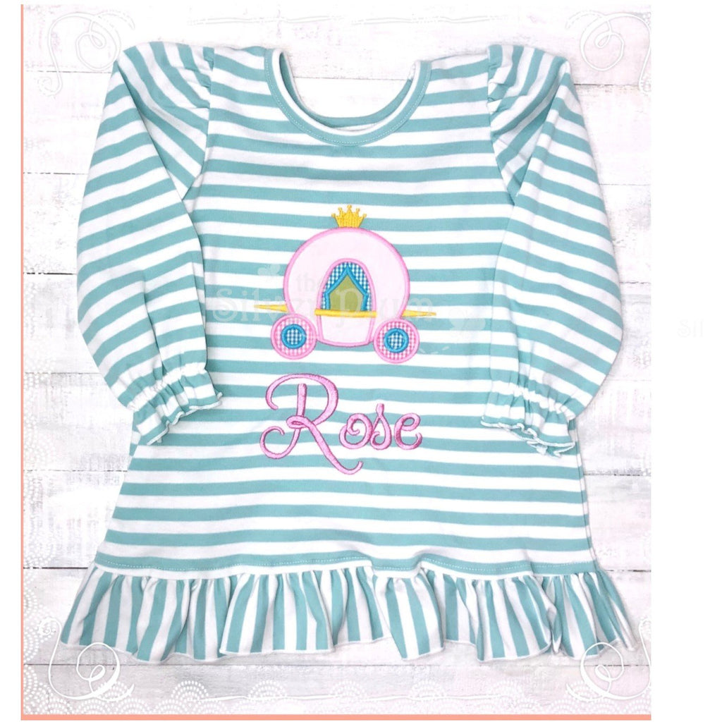 Zuccini Girls Knit Blue & White Stripe Dress, Applique Princess Carriage Monogram Available