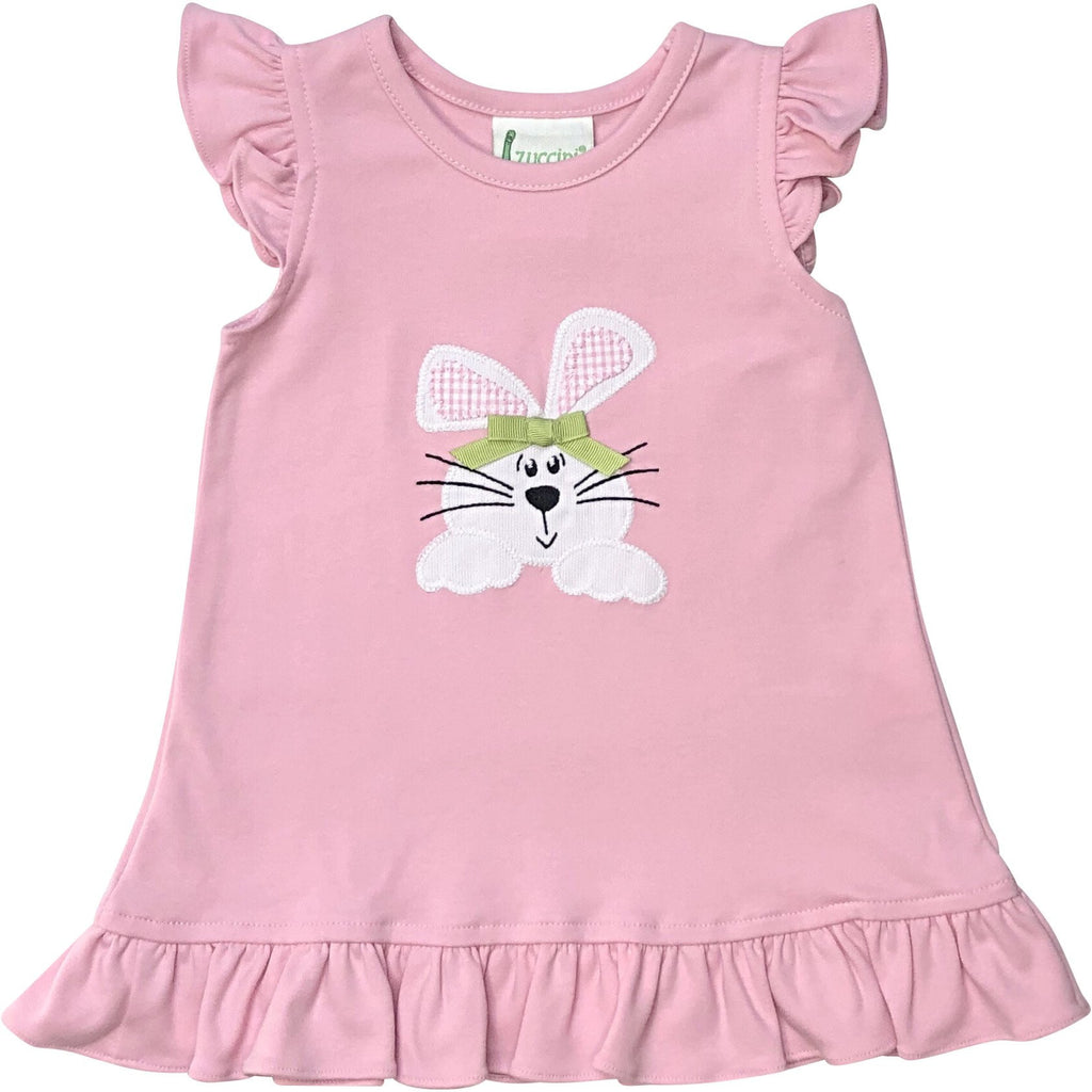 Zuccini Bunny Girl Applique Ruffle Dress