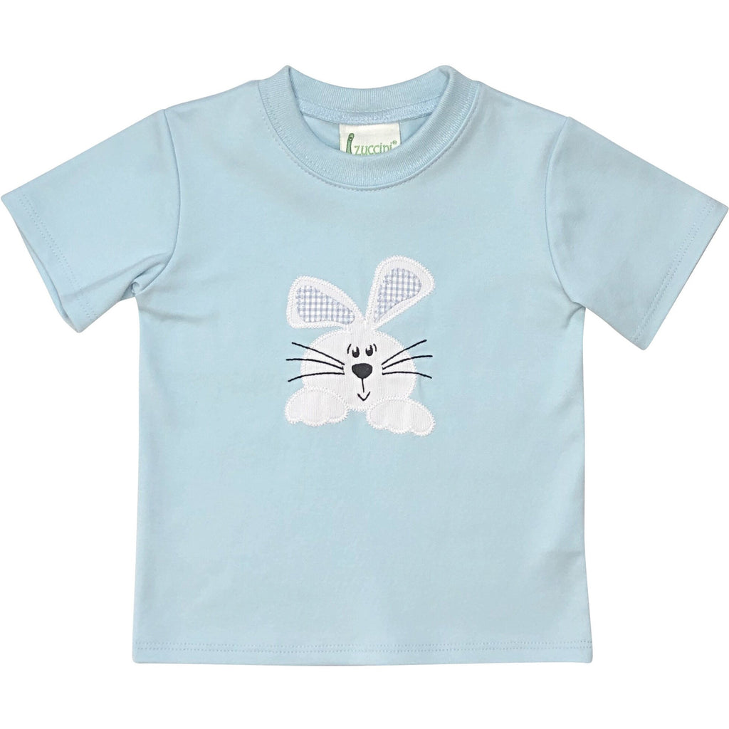 Zuccini Boy Bunny Applique Blue Shirt - Monogram Available