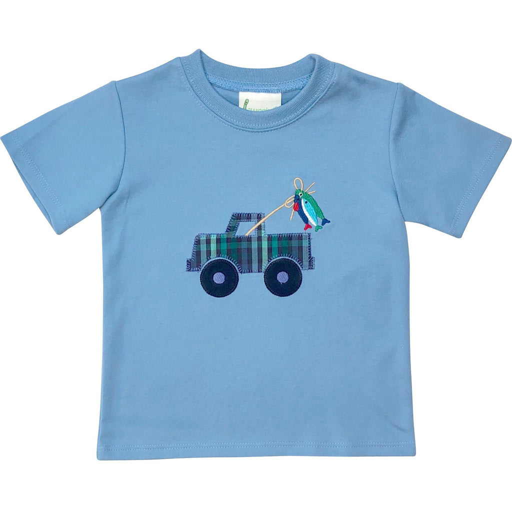 Zuccini Boys Applique Going Fishing Shirt - Monogram Available