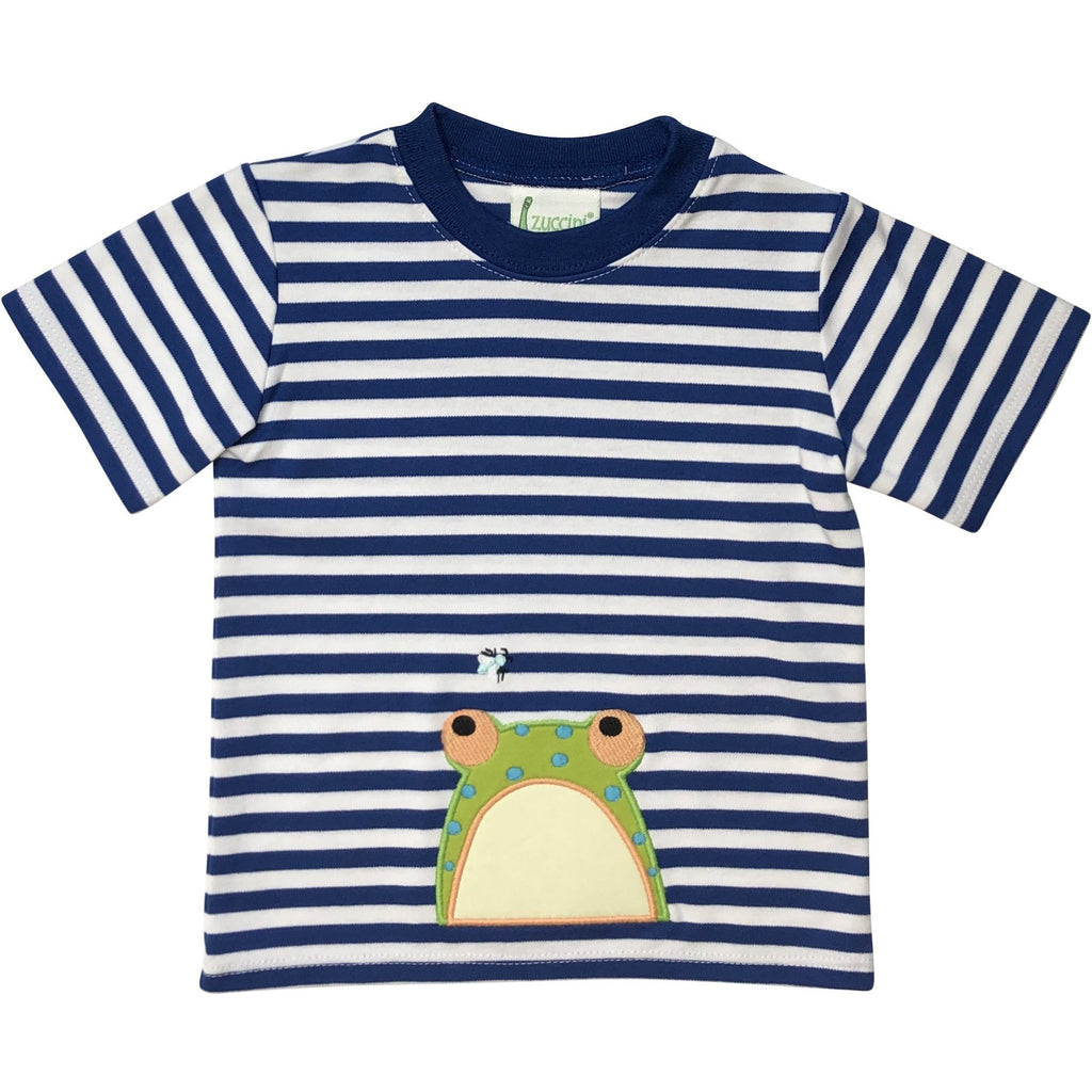 Zuccini Boys Frog Applique Royal Blue/ White Stripe Shirt