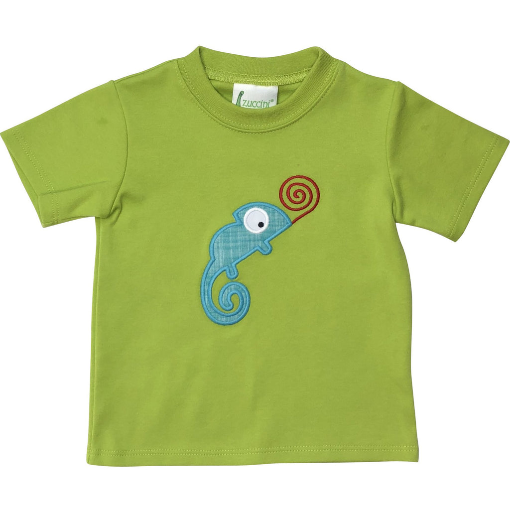 Zuccini Boys Chameleon Applique Green Shirt