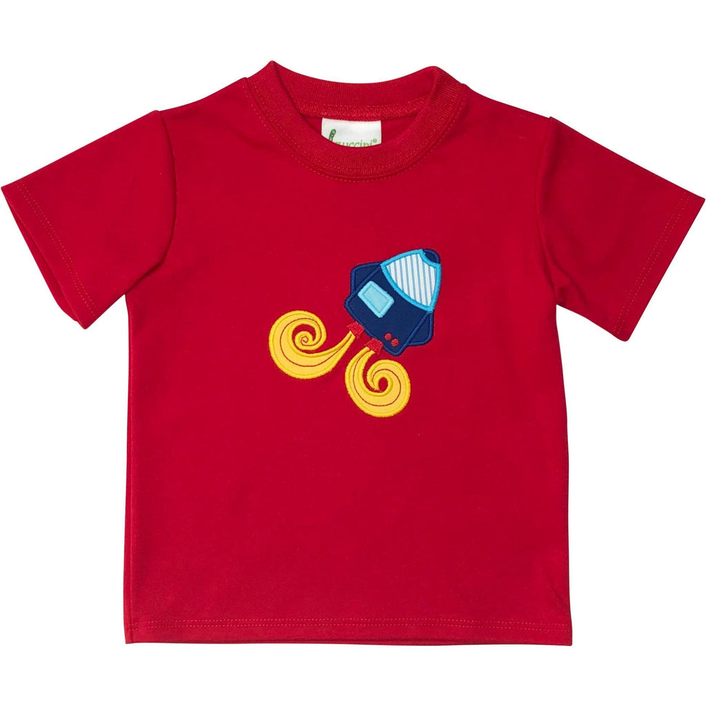 Zuccini Boys Rocket Applique Red Shirt