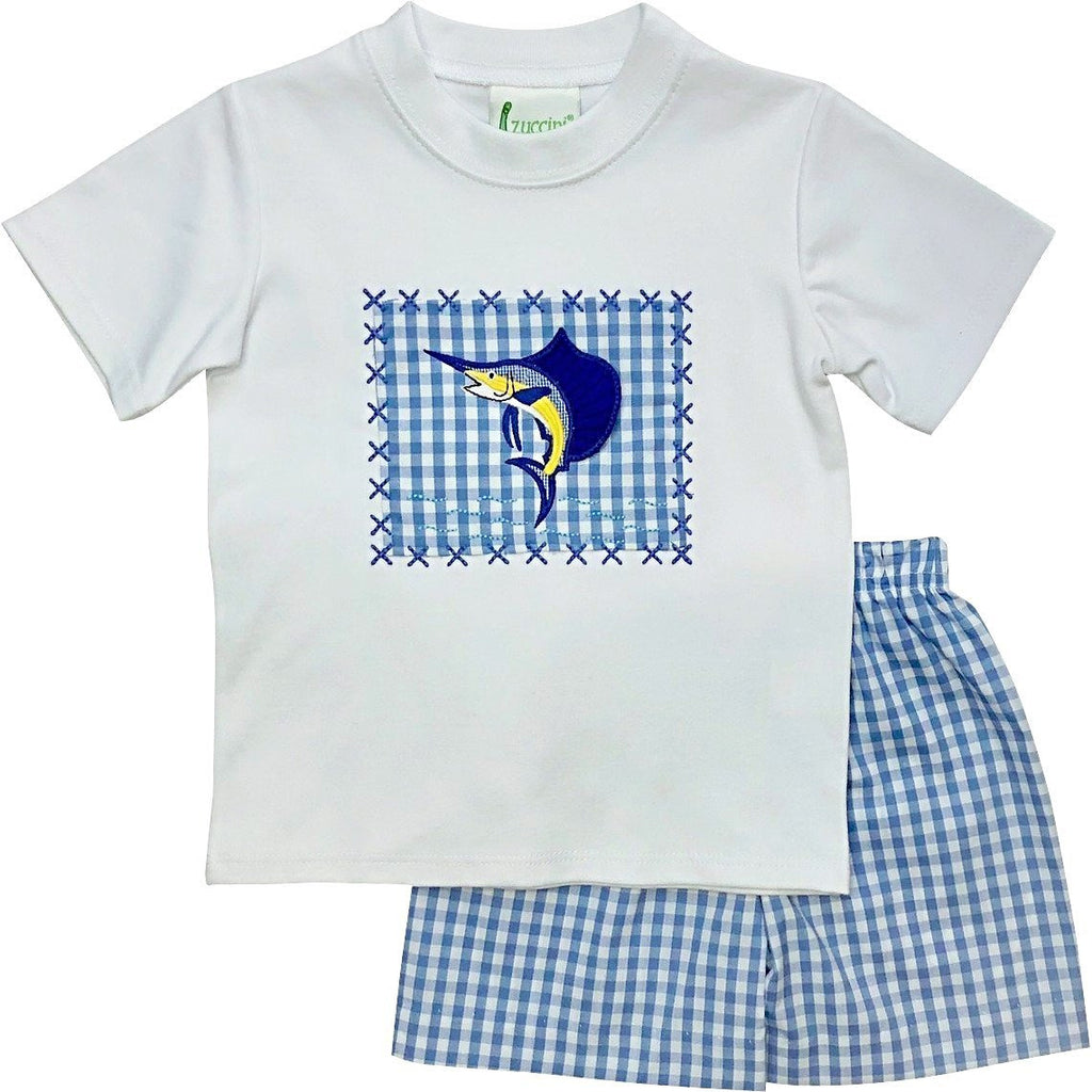 Zuccini Boys Swordfish Applique Short Set