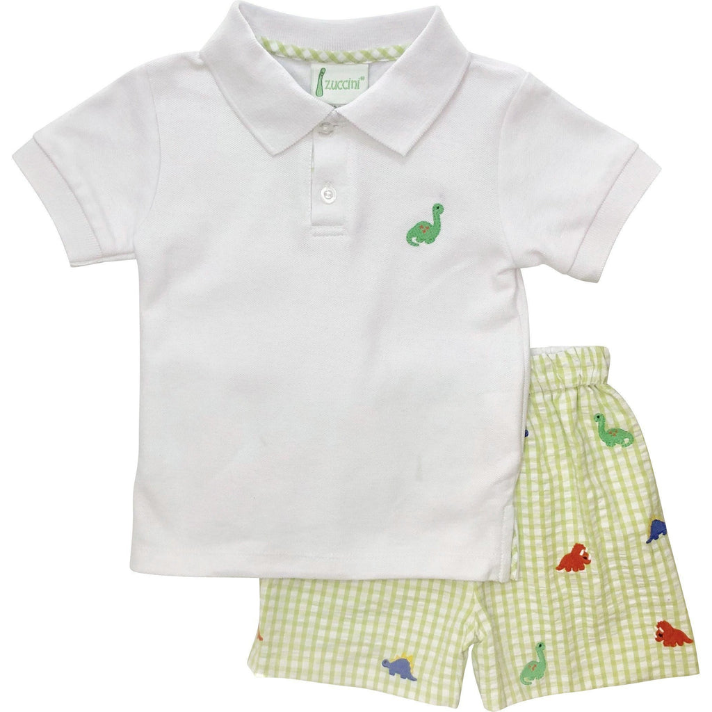 Zuccini Boys Dinosaur Seersucker Short Set