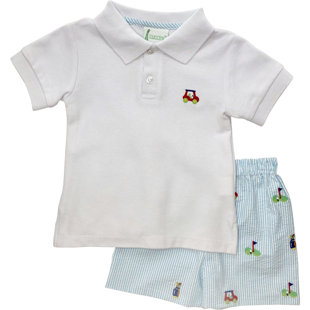 Zuccini Boys Golf Seersucker Short Set