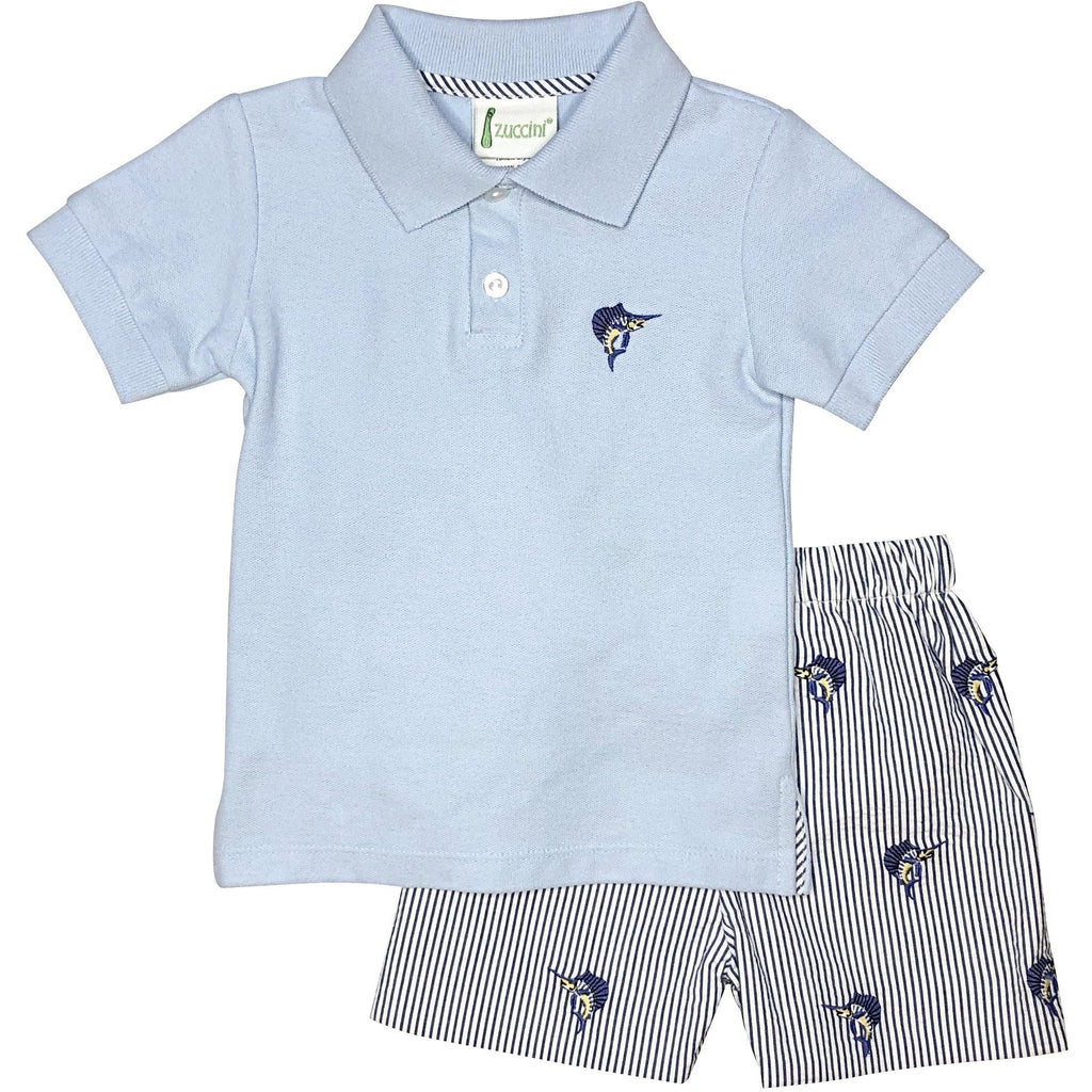 Zuccini Boys Swordfish Seersucker Short Set