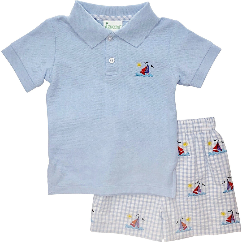 Zuccini Boys Sailboat Seersucker Short Set