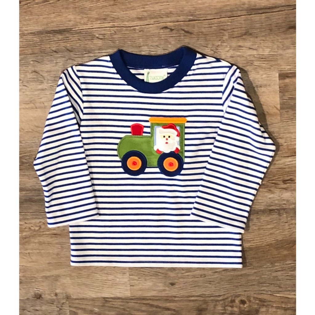 Zuccini - Christmas Santa Train Royal Stripe Applique Shirt - Monogram Available