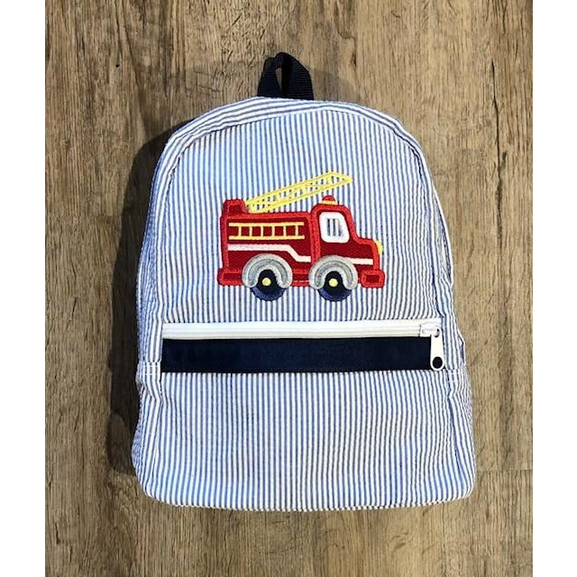 Seersucker Backpack - Firetruck Applique - Monogram Available