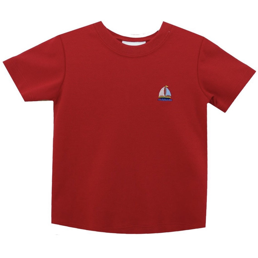 Zuccini Sailboat Embroiderd Sailboat on Red Crew Neck Shirt
