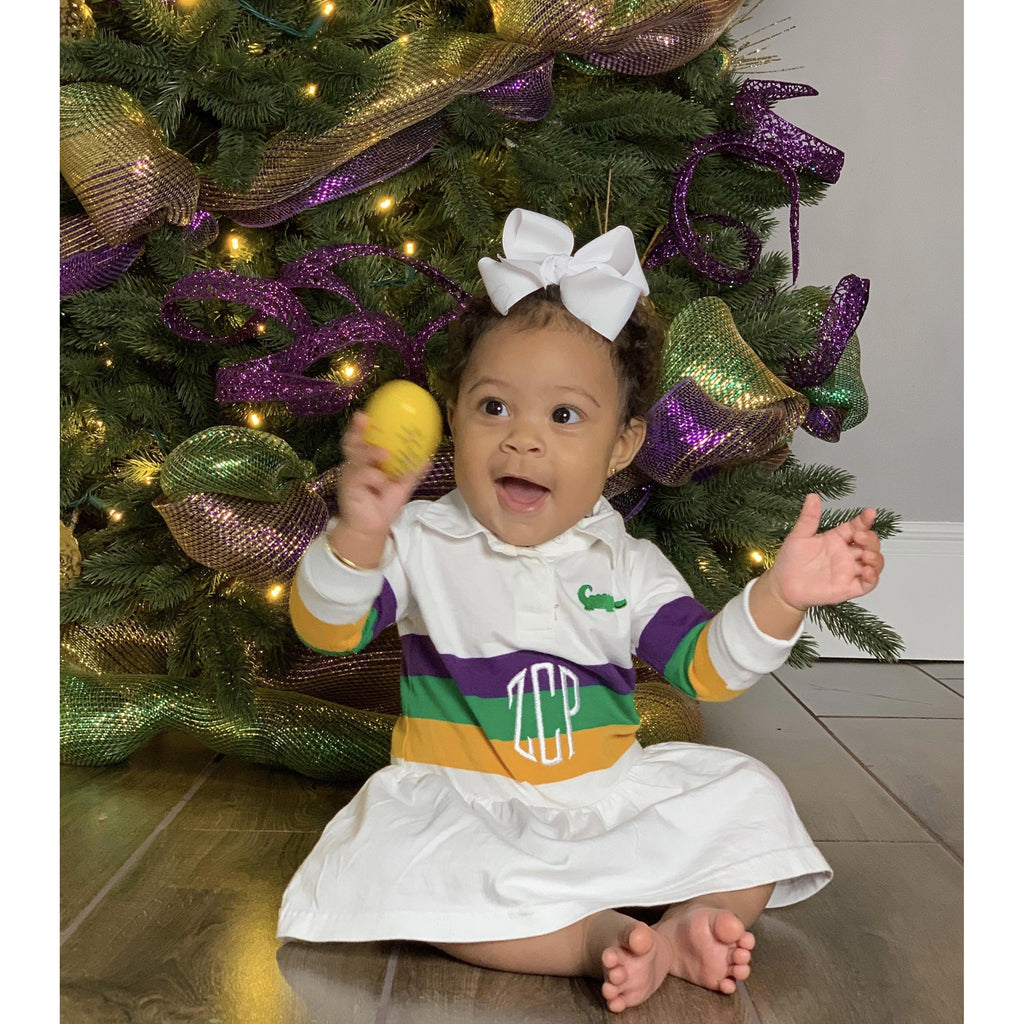 MeMe - Mardi Gras Rugby Long Sleeve Stripe Dress, Purple, Green and Gold Broad Stripe