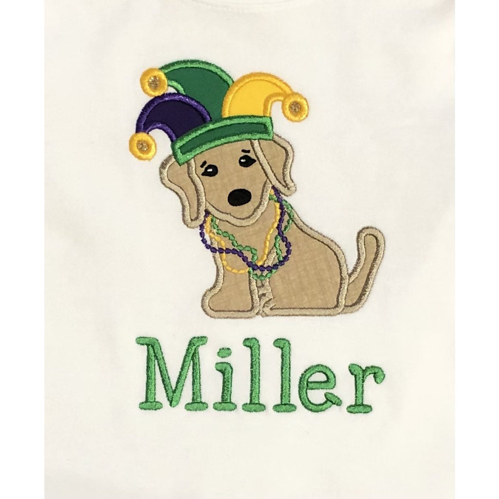 Mardi Gras Applique Dog & Jester Hat Crew Neck Tee