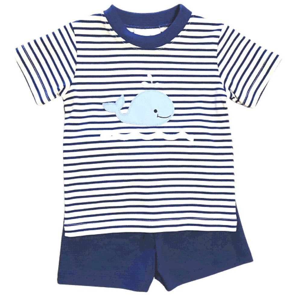 Zuccini Whale Boy Applique Short Set - Royal Blue Stripe