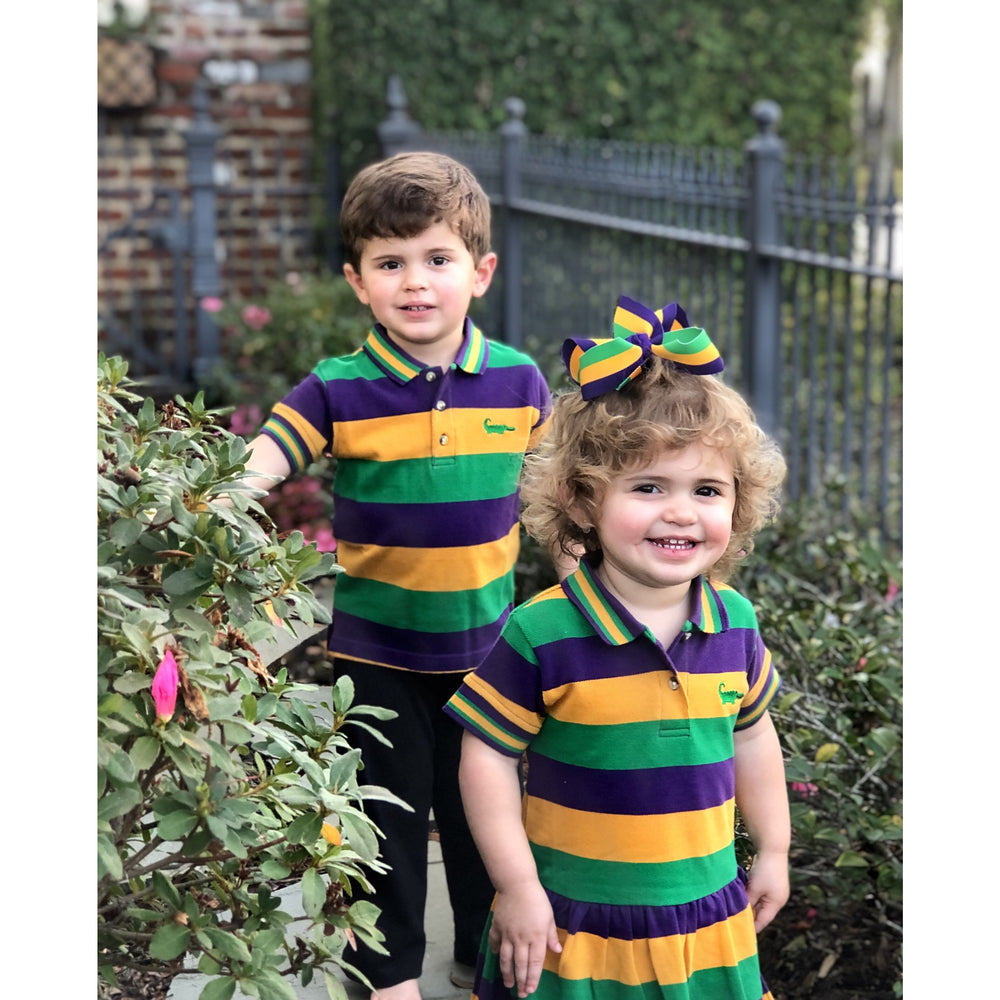 MeMe - Mardi Gras Polo Stripe Short Sleeve Shirt, Purple, Green and Gold