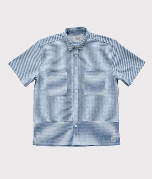 Short Sleeve Seersucker Button Up- Gray/White- SALE