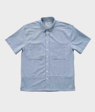 Short Sleeve Seersucker Button Up- Gray/White