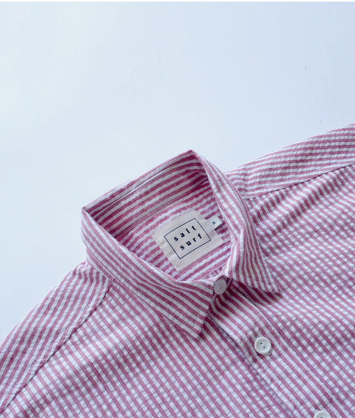 Short Sleeve Seersucker Button Up- Red/White- SALE