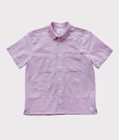 Short Sleeve Seersucker Button Up- Red/White