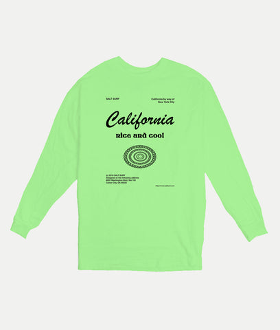 California Long Sleeve Tee- Neon Green