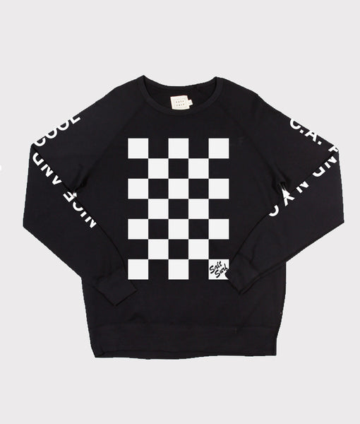 Checkerboard Sweatshirt- Black - SALE