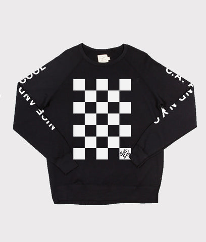 Checkerboard Sweatshirt- Black