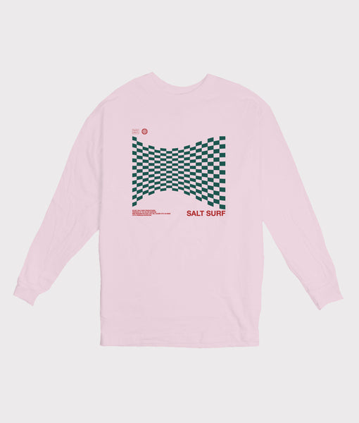Warped Checker Long Sleeve Tee- Pink- SALE