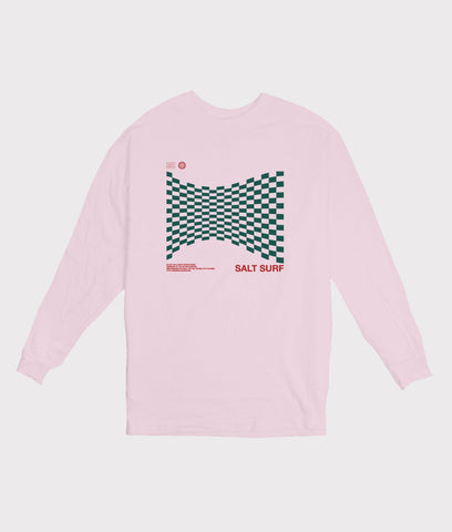 Warped Checker Long Sleeve Tee- Pink