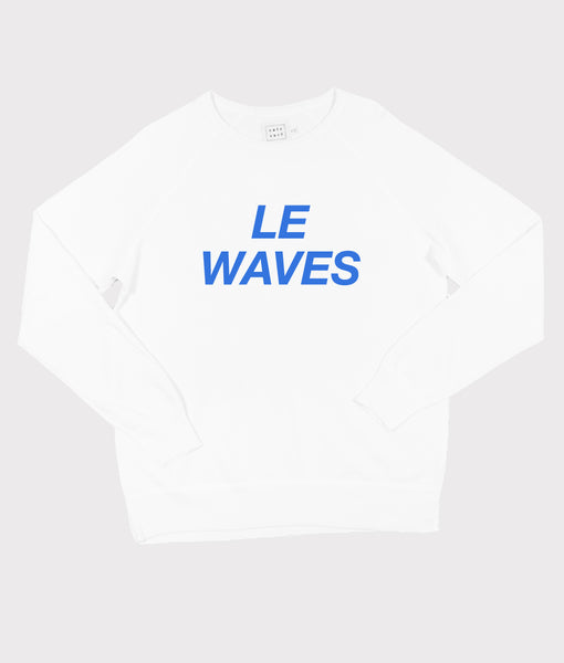 Le Waves Sweatshirt- White/Electric Blue