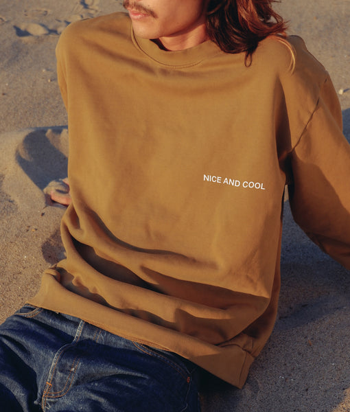 Puff Paint Mini NICE AND COOL Crewneck- Dusty Olive