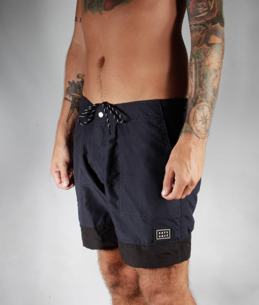 Classic Surf Trunk- Navy Blue/Black- SALE