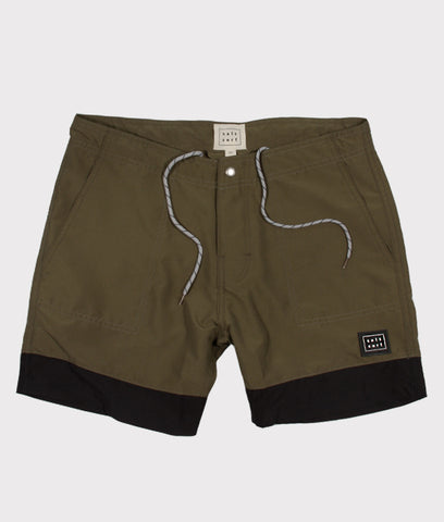 Classic Surf Trunk- Olive/Black- SALE