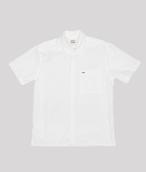 Short Sleeve Button Up White- SALE
