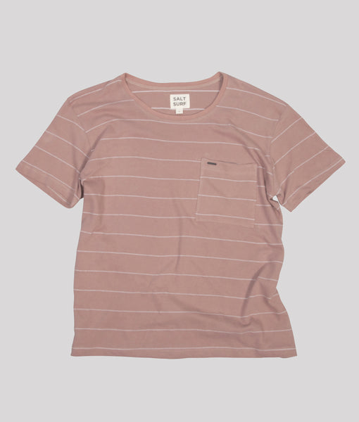 Stripe Tee, Dusty Pink- SALE