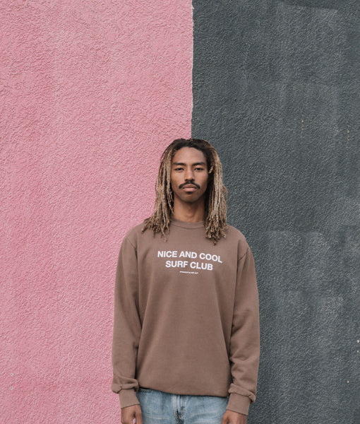 Nice and Cool Surf Club Crewneck- Brown