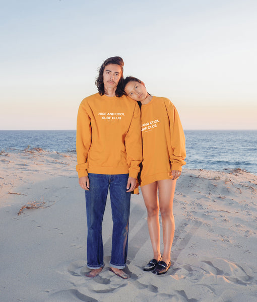 Nice and Cool Surf Club Crewneck- Marigold