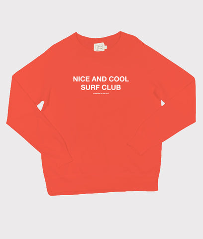 Nice and Cool Surf Club Sweatshirt- Bright Red