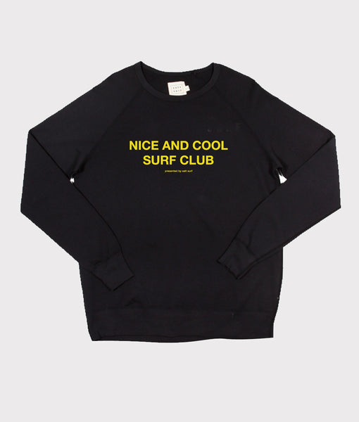 Nice and Cool Surf Club Sweatshirt- Vintage Black/Yellow - SALE