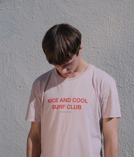 Nice and Cool Surf Club Tee- Neutral Pink/Bright Red