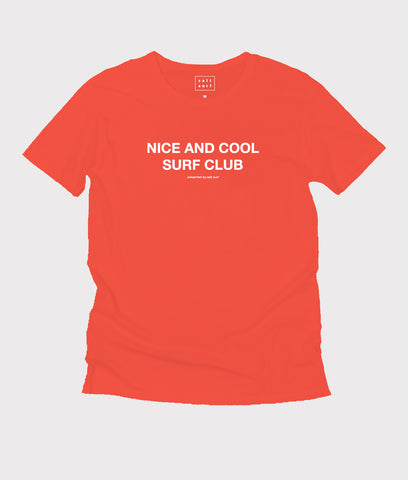 Nice and Cool Surf Club Tee- Bright Red