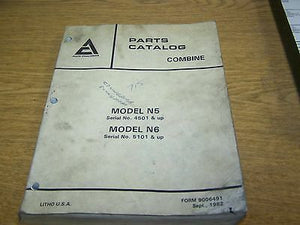 Allis Chalmers Combine N5 and N6 Parts Catalog