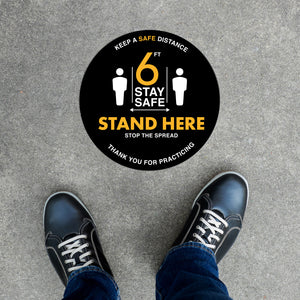 Floor Decal - Stand Here - Black/Yellow