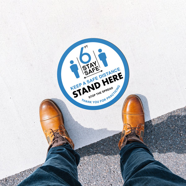 Floor Decal - Stand Here - White/Blue