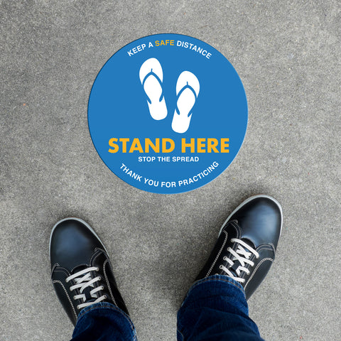 Floor Decal - Stand Here Flip Flops